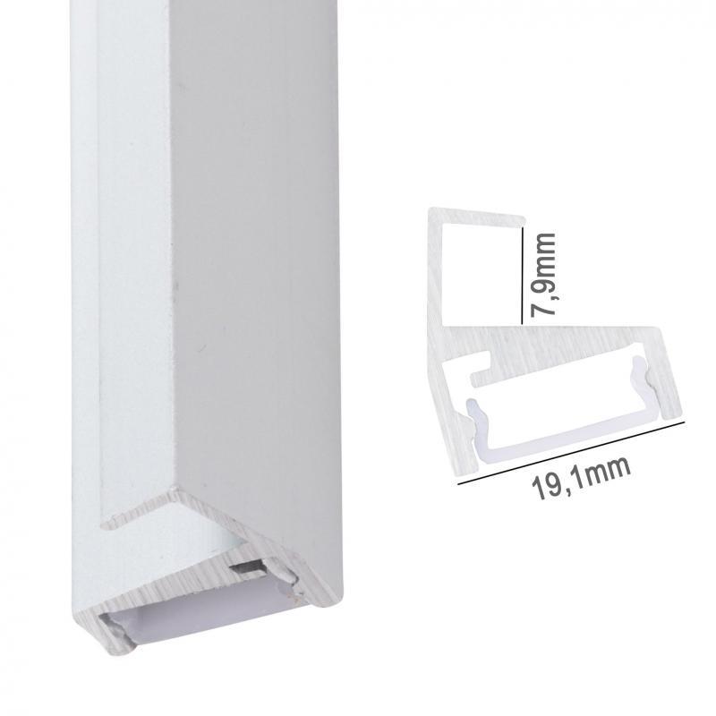 Perfíl Aluminio para Tira LED Estanterías Cristal 8Mm 2M - Imagen 1