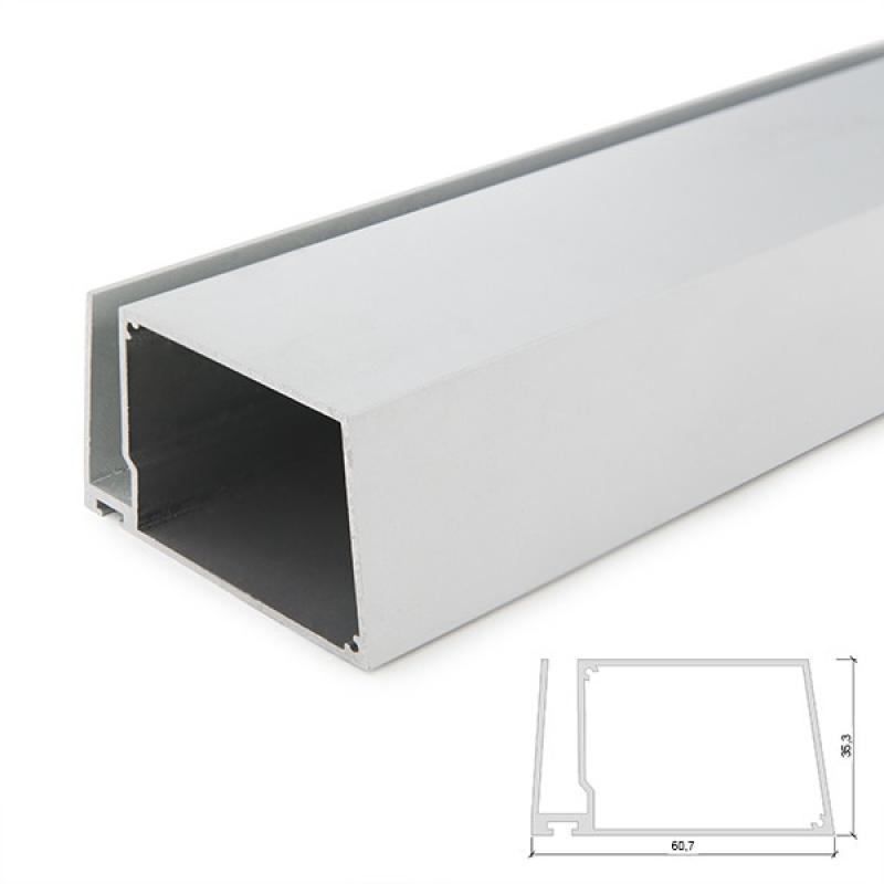 Perfíl Aluminio para Tira LED Estanterías Cristal Espesor 8Mm - Alojamiento Transformador - Tira 2M - Imagen 1