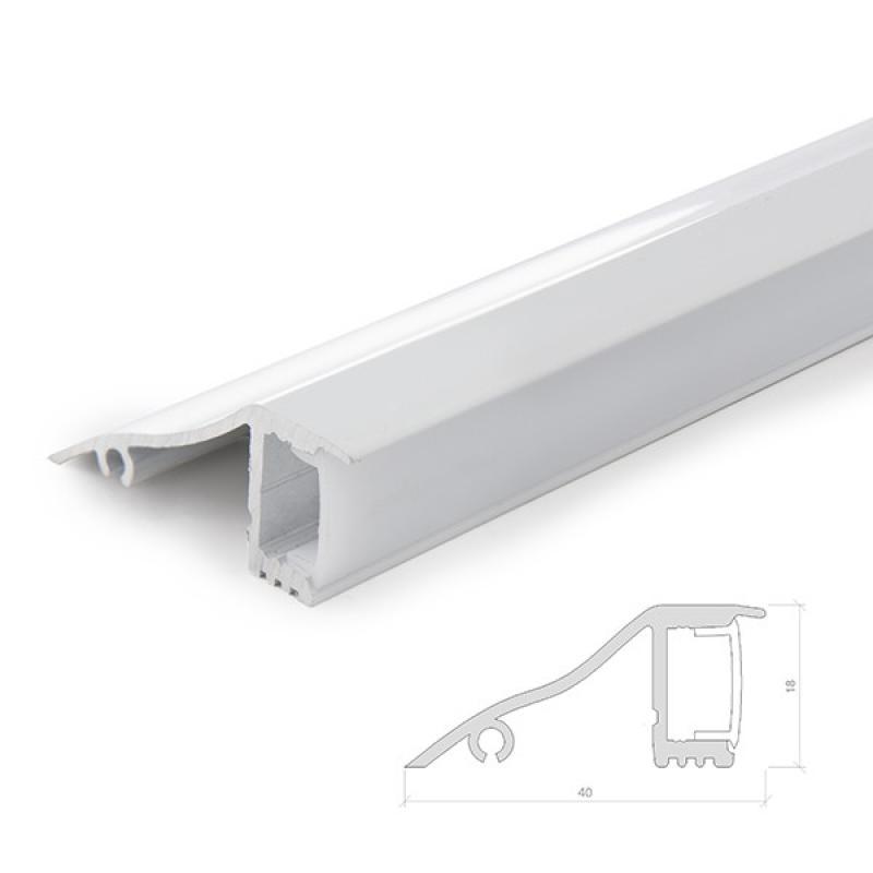 Perfíl Aluminio para Tira LED Instalación Paredes - Difusor Opal - Tira 2M - Imagen 1