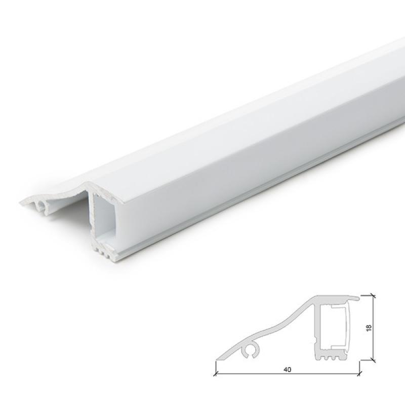 Perfíl Aluminio para Tira LED Blanco Instalación Pared - Difusor Opal - 1M - Imagen 1