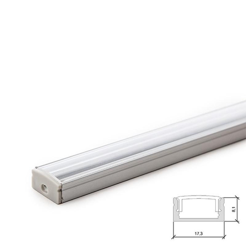 Perfíl Aluminio para Tira LED Difusor Transparente 2M - Imagen 1