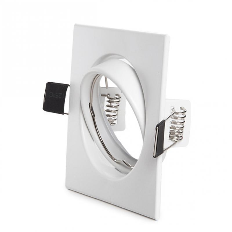 Aro Foco Downlight Basculante Cuadrado Aluminio Blanco 83/83Mm - Imagen 1