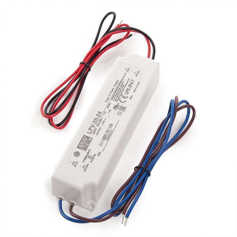 Transformador LED Meanwell 35W 230VAC/24VDC IP67 - Imagen 1