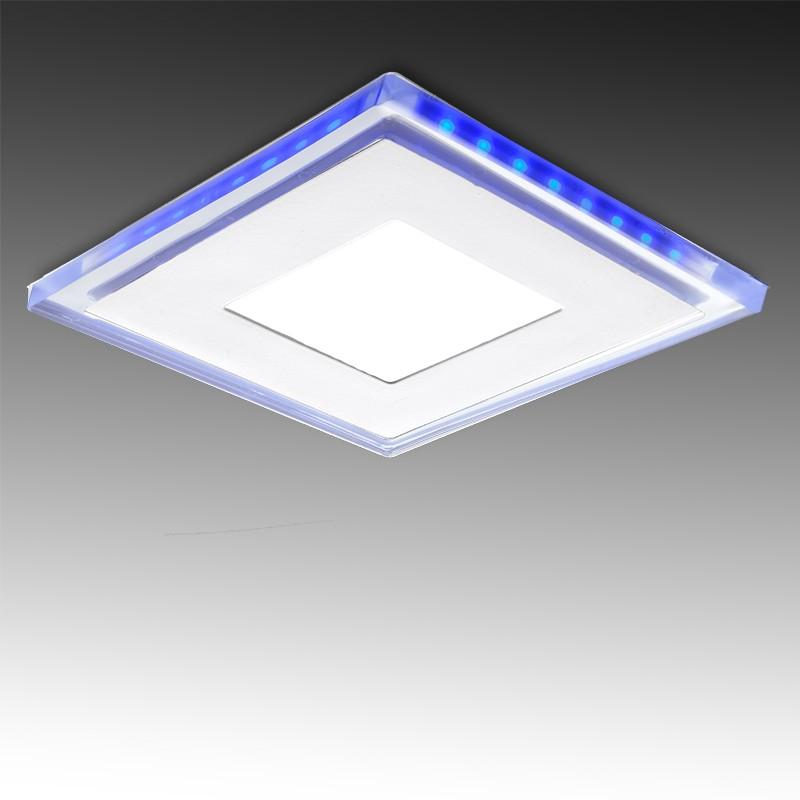Foco Downlight LED Cuadrado con Cristal Duo (Blanco/Azul) 130X130Mm 10W 800Lm 30.000H - Imagen 1