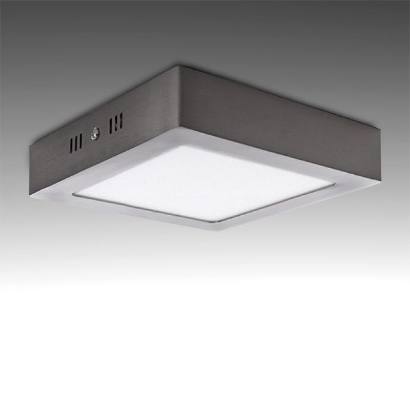 Plafón LED Cuadrado 180Mm 12W 860Lm 50.000H Niquel Satinado - Imagen 1