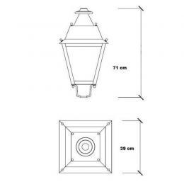 Farola Villa Aluminio LED 100W LUMILEDS 150Lm/W - Imagen 2