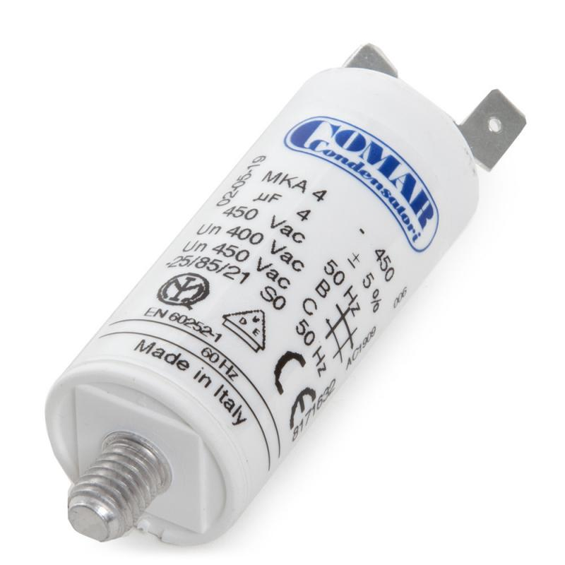 Condensador Motor 4µF 250-450V Faston Doble Tornillo M8 25x57mm - Imagen 1