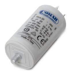 Condensador Motor 20µF 250-450V Faston Doble Tornillo M8 40x70mm - Imagen 1