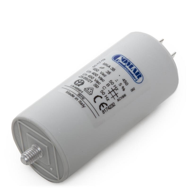 Condensador Motor 35µF 250-450V Faston Doble Tornillo M8 45x94mm - Imagen 1