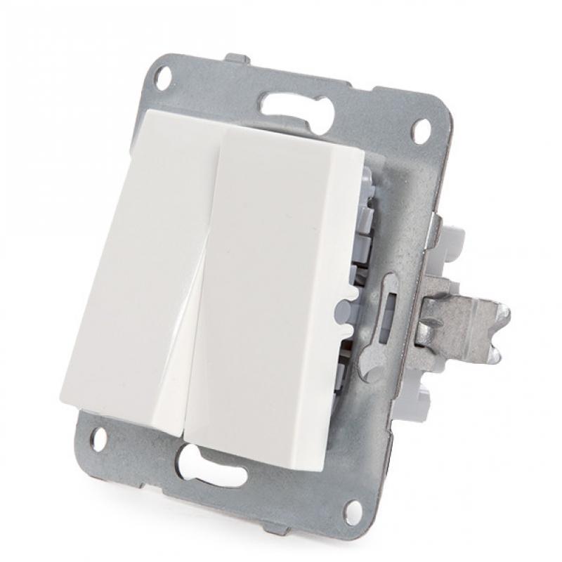 Interruptor Doble Panasonic Karre 10A 250V/Bastidor Metálico con Garras/Tecla Blanca - Imagen 3