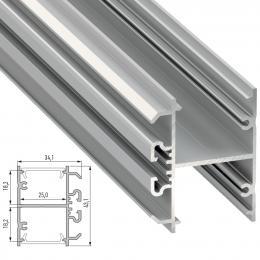 Perfil Aluminio Tipo DOPIO 2,02M - Imagen 2