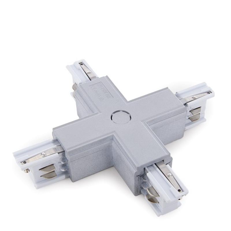 Conector + Carril Trifásico Plata - Imagen 1