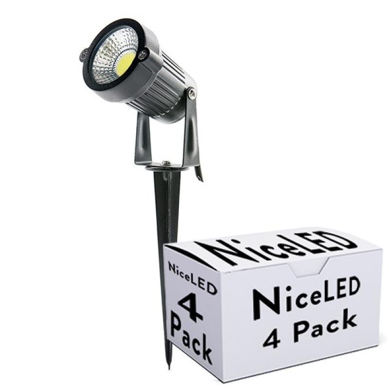 Lotes 4 Foco LED COB con Pincho Jardínes 5W 450Lm 30.000H - Imagen 1