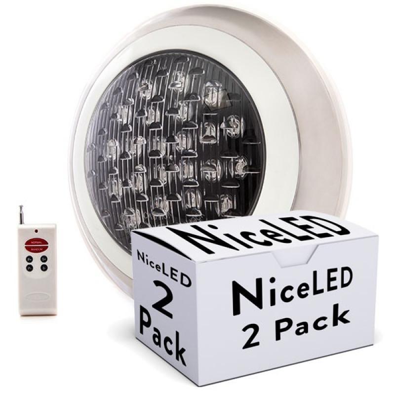 Lotes 2 Foco de Piscina LED Superficie Ø300Mm Multicolor Mando a Distancia 24W - Imagen 1
