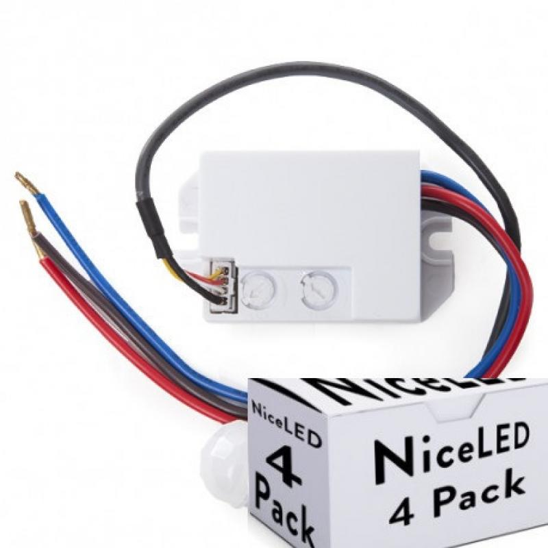 Lotes 4 Sensor Movimiento Empotrar Mini 140º ► 300W - Imagen 1