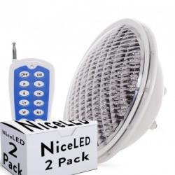 Lotes 2 Foco de Piscina LED Par 56 Multicolor Mando a Distancia 25W