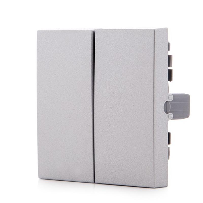 Tecla Partida Panasonic Novella Interruptor/Conmutador Doble, Color Plata (Compatible Mecanismo Karre) - Imagen 1