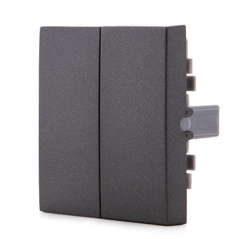 Tecla Partida Panasonic Novella Interruptor/Conmutador Doble, Color Fume (Compatible Karre) - Imagen 1