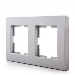 Marco Panasonic Novella 2 Elementos Horizontal/Vertical , Tecnopolímero, Plata (Compatible Mecanismo Karre) - Imagen 1