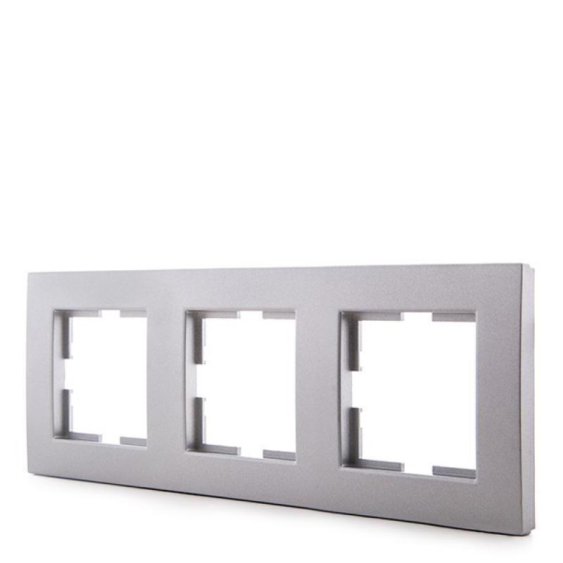 Marco Panasonic Novella 3 Elementos Horizontal-Vertical , Tecnopolímero, Plata (Compatible Mecanismo Karre) - Imagen 1
