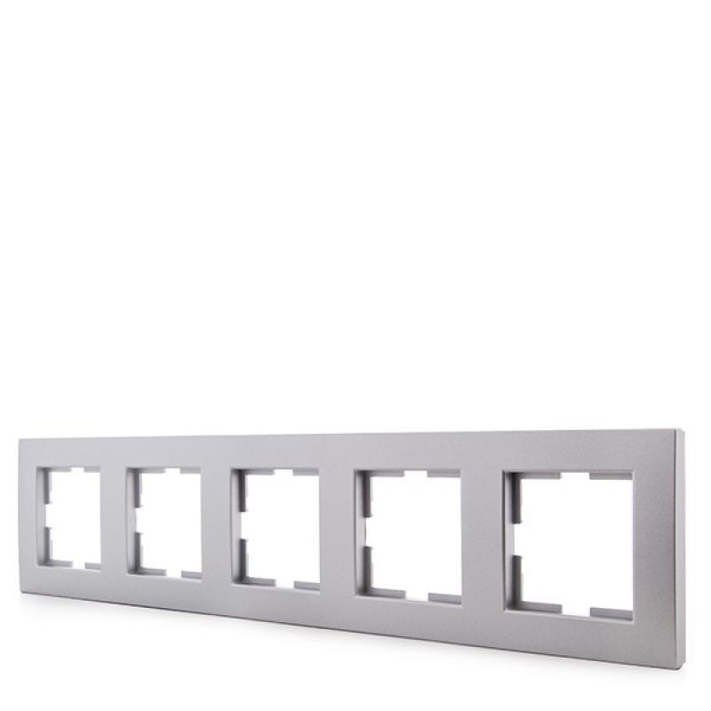 Marco Panasonic Novella 5 Elementos Horizontal-Vertical , Tecnopolímero, Plata (Compatible Mecanismo Karre) - Imagen 1
