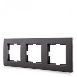 Marco Panasonic Novella 3 Elementos Horizontal/Vertical , Tecnopolímero, Fume (Compatible Mecanismo Karre)