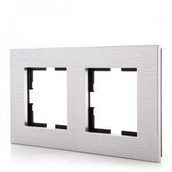 Marco Panasonic Novella 2 Elementos Horizontal-Vertical, Aluminio Eloxal Plata (Compatible Mecanismo Karre)
