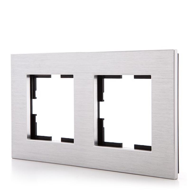 Marco Panasonic Novella 2 Elementos Horizontal-Vertical, Aluminio Eloxal Plata (Compatible Mecanismo Karre) - Imagen 1
