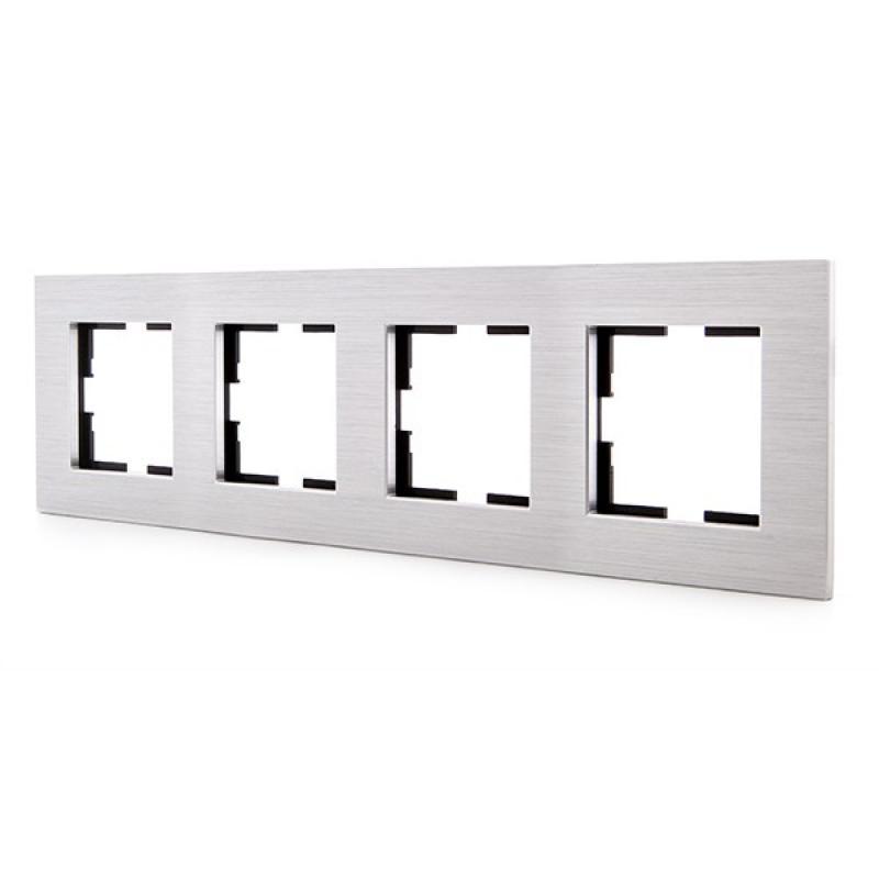 Marco Panasonic Novella 4 Elementos Horizontal-Vertical, Aluminio Eloxal Plata (Compatible Mecanismo Karre) - Imagen 1