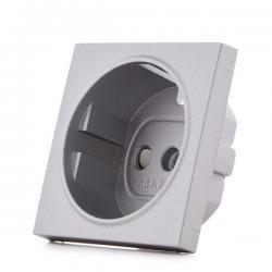 Cazoleta Panasonic Novella Toma Corriente Tt Lateral, Plata, (Compatible Mecanismo Karre) - Imagen 1