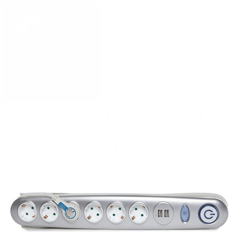 Enchufe 6 X Toma Corriente + Interruptor Luminoso + 2 X Usb Cargador 2100 Ma 5V - IP20 - Blanco/Plata - Imagen 1