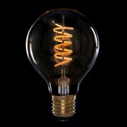 Bombilla Vintage LED Dimable G80 Globo Vortice 4W E27 Vidrio Ámbar