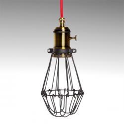Lámpara Suspendida Negro-Rojo Portalámparas E27 Cable 5M Interruptor Rotativo Sawyer - Imagen 1