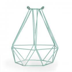 Jaula Metalica Diamante Verde Menta Portalámparas Ah013 - Ah003