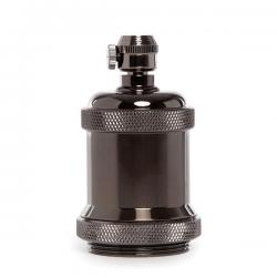 Portalámparas E27 Cobre Ceramica, Color Negro