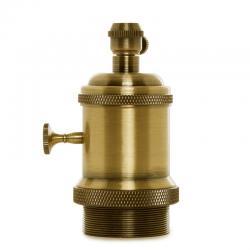 Portalámparas E27 Cobre Baquelita- Interruptor Rotativo, Color Cobre Viejo