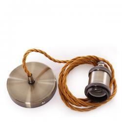 Pendel E27 Cable 2000Mm Whisky 3 X 0,75 Portalámparas Latón - Rosetón Latón