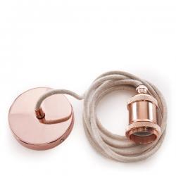 Pendel E27 Cable 2000Mm Lona Beige 3X0,75 Portalámparas - Rosetón Rojo Cobre