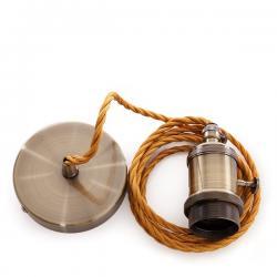 Pendel E27 Cable 2000Mm Trenzado Whisky 3X0,75 Portalámparas - Interruptor Rotativo - Rosetón
