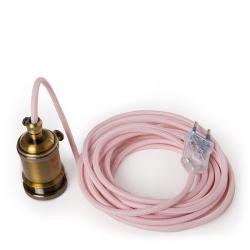Pendel E27 Cable 5000Mm Rojo 3 X 0,75 Portalámparas Interruptor Rotativo Latón - Enchufe