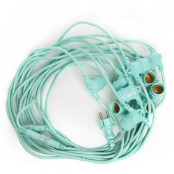 Cadena Luminosa Verde Menta 11 X E27 IP44 12,5M