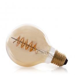 Bombilla Vintage LED Dimable G80 Globo Vortice 4W E27 Vidrio Ámbar - Imagen 2