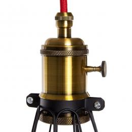 Lámpara Suspendida Negro-Rojo Portalámparas E27 Cable 5M Interruptor Rotativo Sawyer - Imagen 2