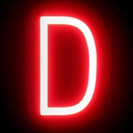 Letra LED Neon D Ancho 100Mm Alto 161Mm Fondo 38Mm - Imagen 2